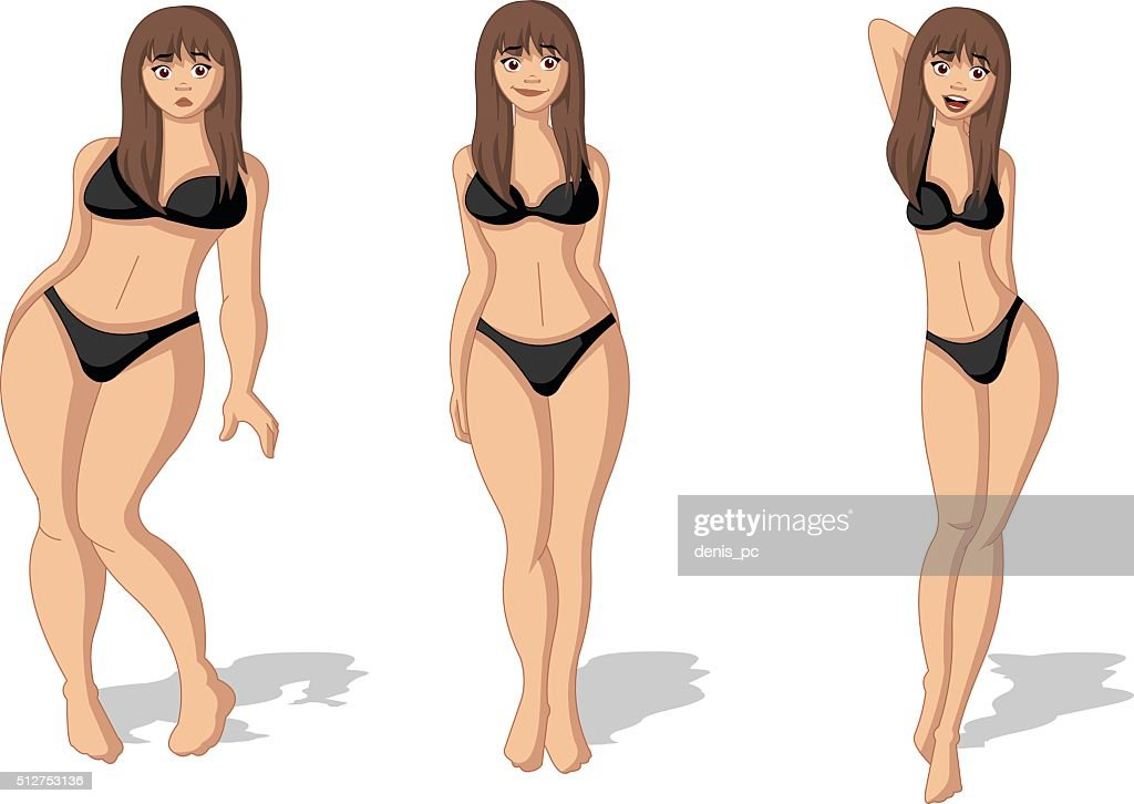 Fat and slim woman figure