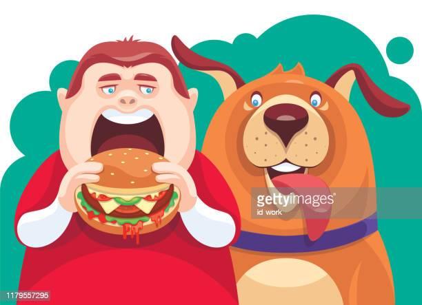 fat boy eating hamburger with dog - dog eating stock illustrations, clip art, cartoons, & icons