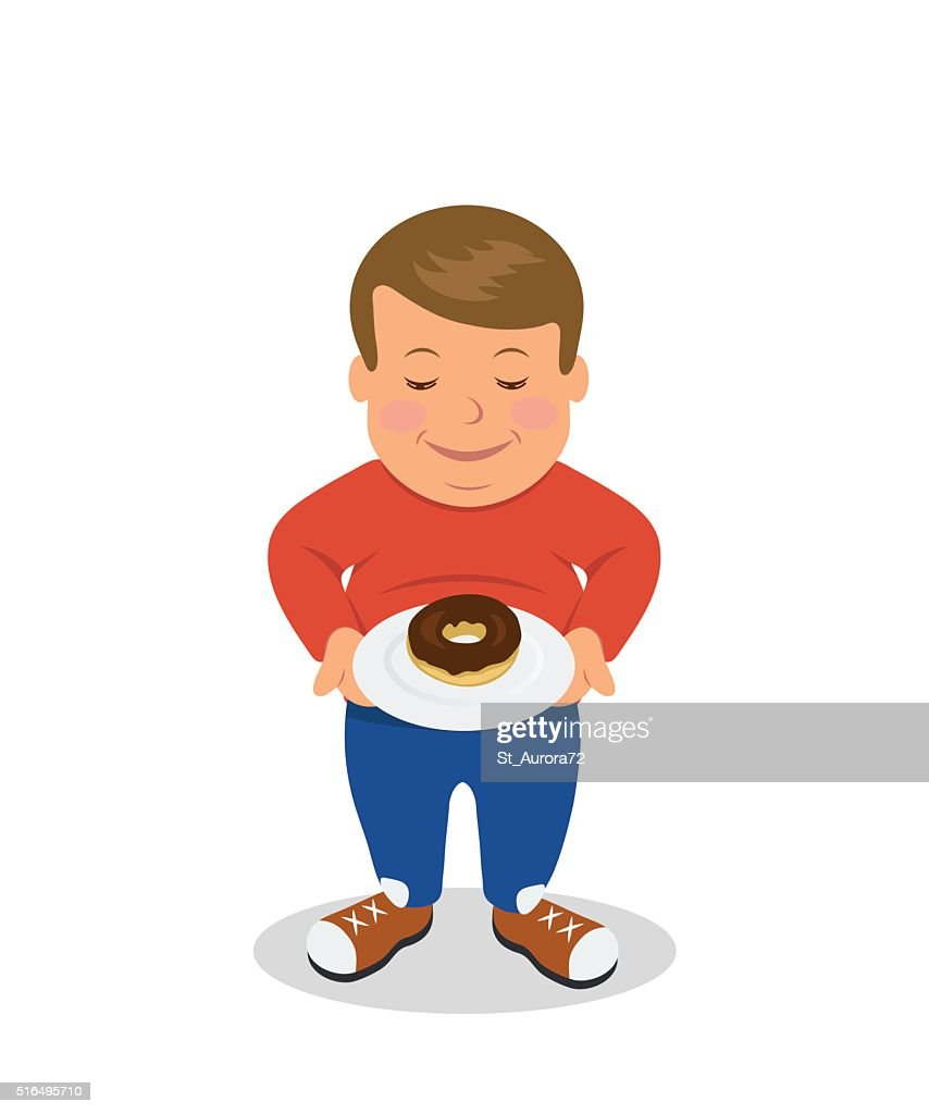 Fat boy standing and holding a plate with donuts.