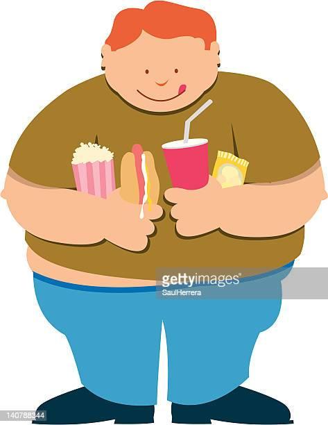 ilustraciones, imágenes clip art, dibujos animados e iconos de stock de fat boy - bulimia