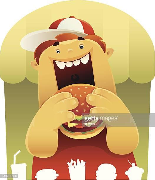 ilustraciones, imágenes clip art, dibujos animados e iconos de stock de fat boy de la comida - obesidad infantil