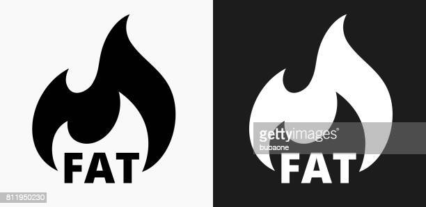 fat burning icon on black and white vector backgrounds - burning stock illustrations, clip art, cartoons, & icons