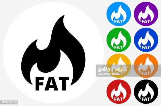 Fat Burning Icon on Flat Color Circle Buttons