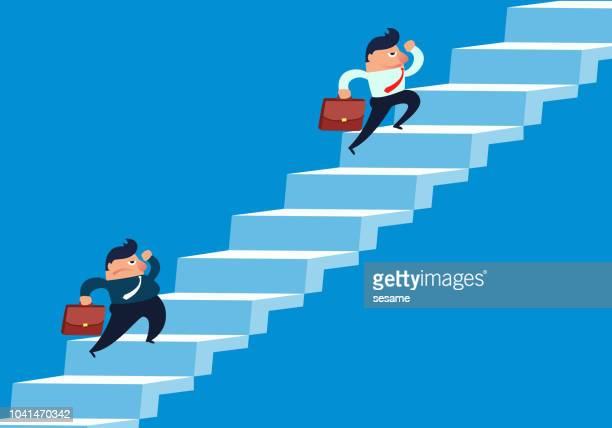 Fat businessman and thin businessman contest climbing stairs