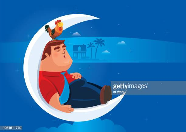 fat businessman sitting on crescent moon and sleeping - fat female cartoon characters stock illustrations