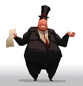 Fat businessman with a contract