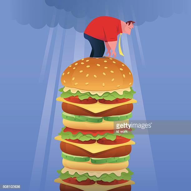 fat businessman with big hamburger