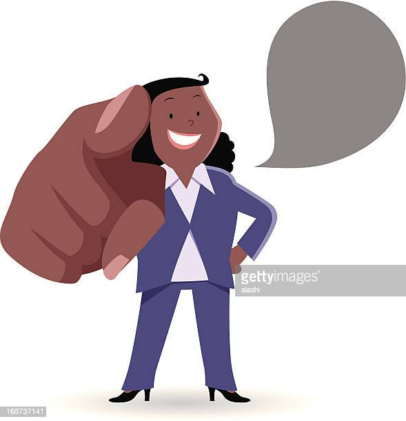 fat businesswoman smiling and pointing at you - foreman stock illustrations, clip art, cartoons, & icons