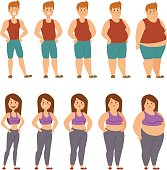 Fat cartoon people different stages vector illustration