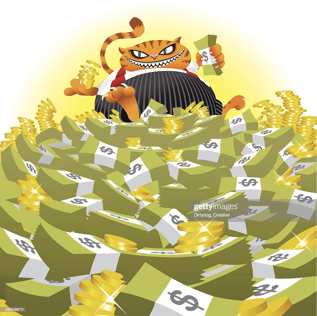 Fat Cat on Money Pile