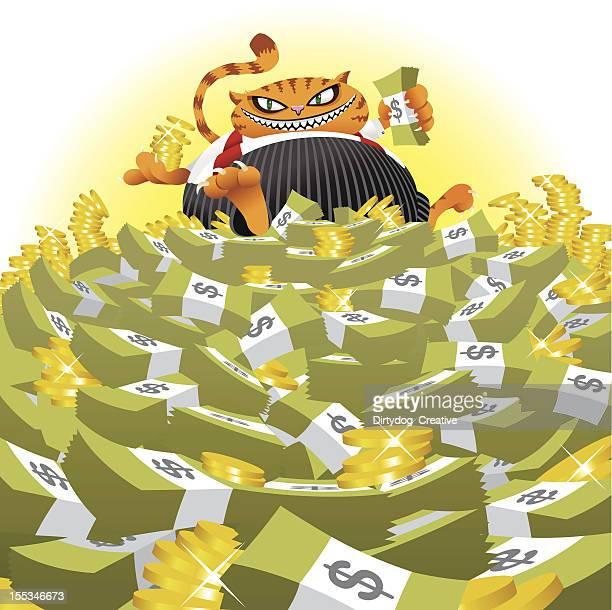 ilustraciones, imágenes clip art, dibujos animados e iconos de stock de grasa gato en montón de dinero - fajo de billetes