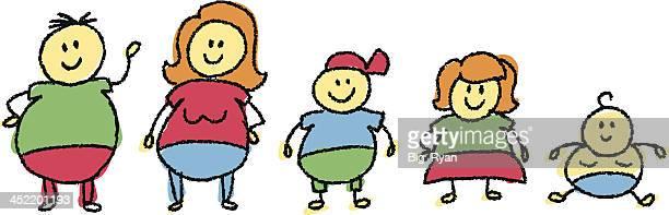 ilustraciones, imágenes clip art, dibujos animados e iconos de stock de grasa la familia - obesidad infantil