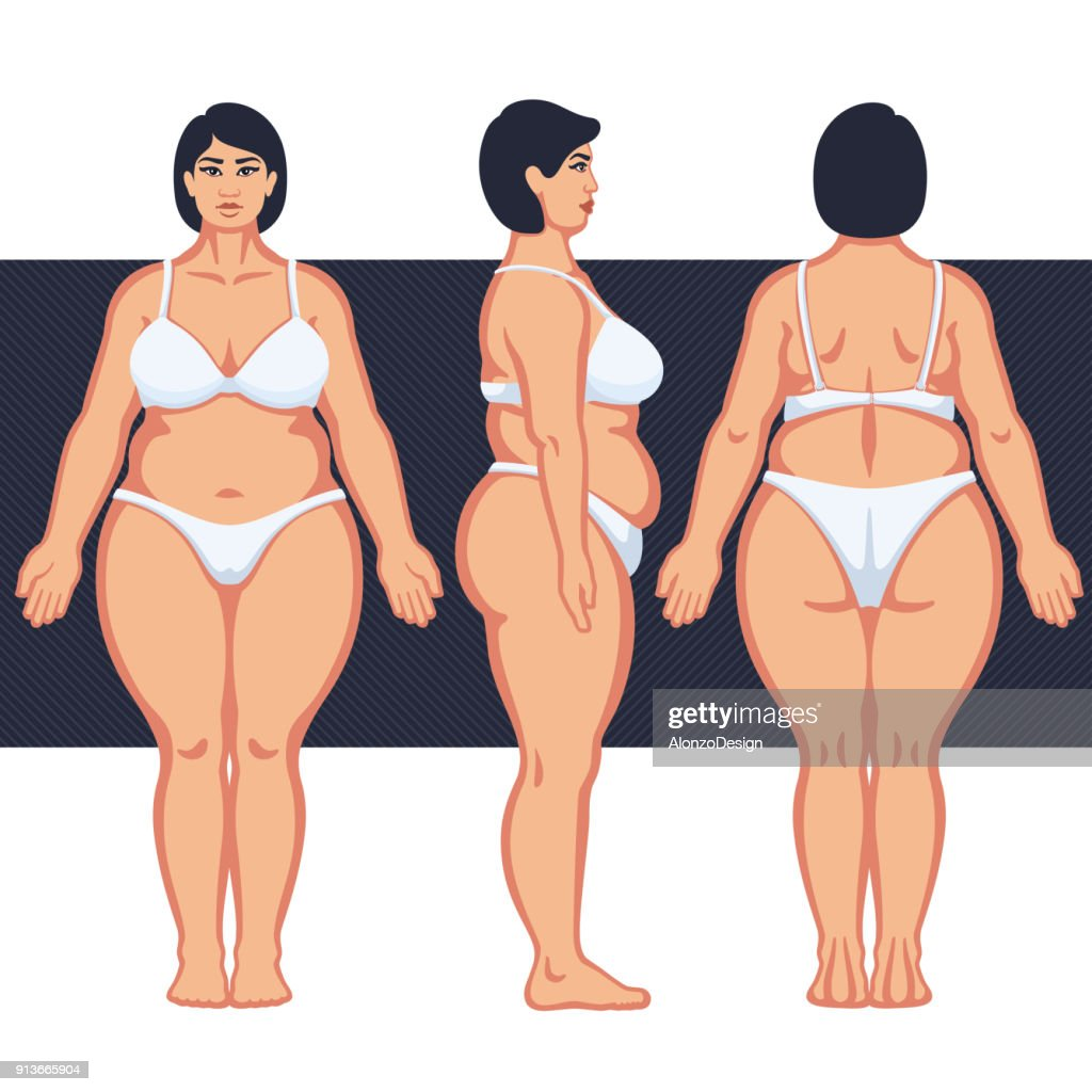 Fat Female Body with Lingerie : stock illustration