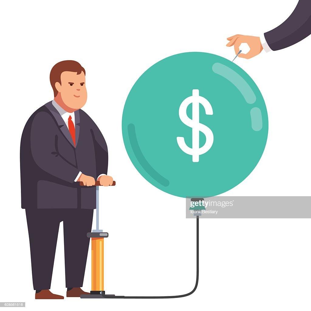 Fat financial businessman with market bubble