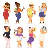 Fat girl vector set.