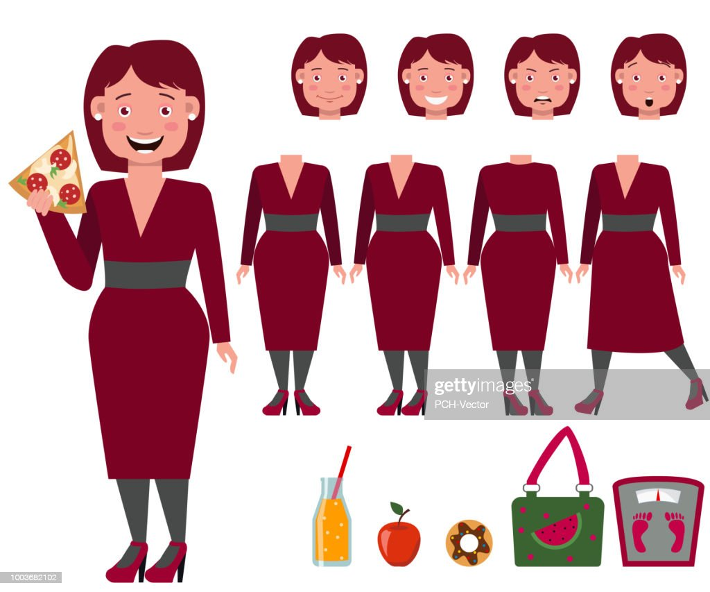Fat lady in dress eating pizza character set