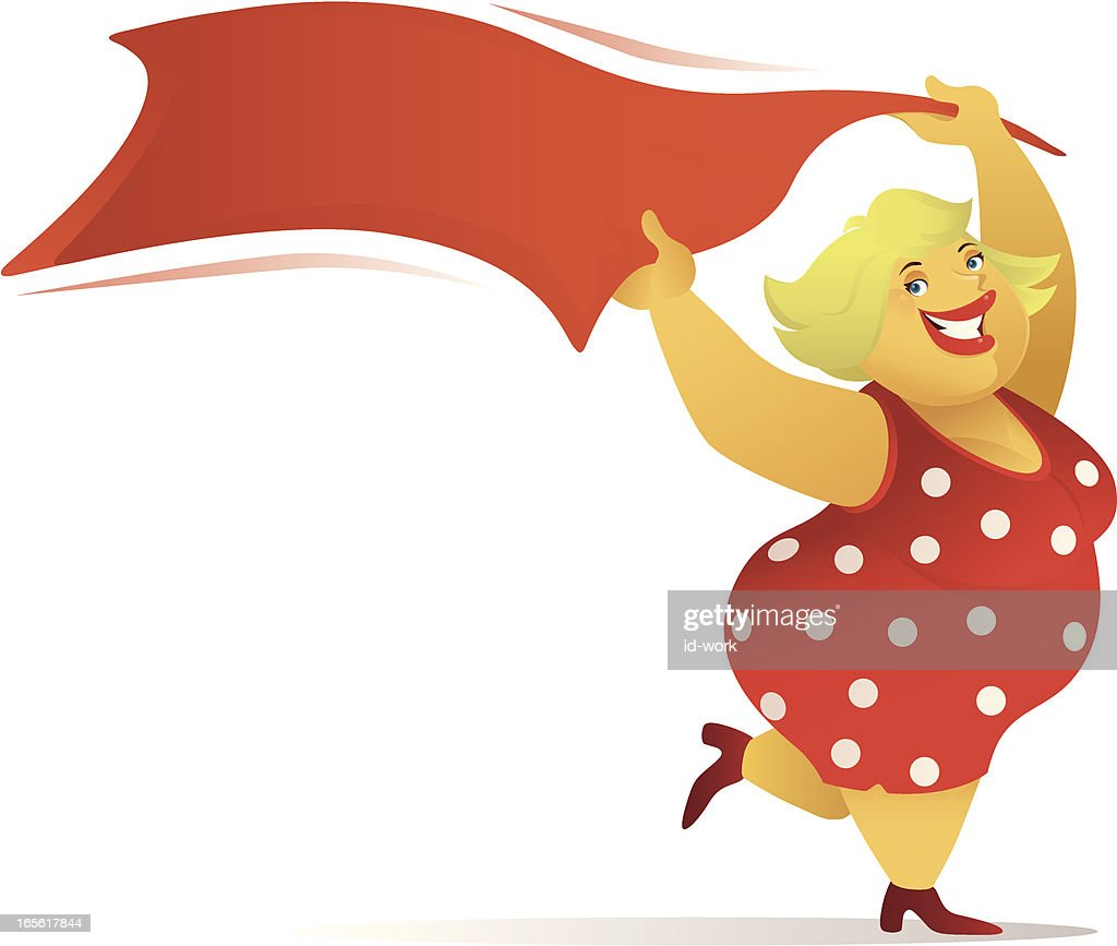 fat lady in red : stock illustration