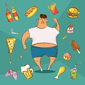 Fat man and different dishes in cartoon style, vector illustration