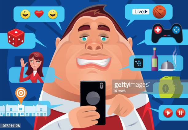 fat man having fun with smartphone - unhealthy living stock illustrations, clip art, cartoons, & icons