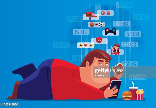 fat man holding smartphone and junk food all day - fat female cartoon characters stock illustrations