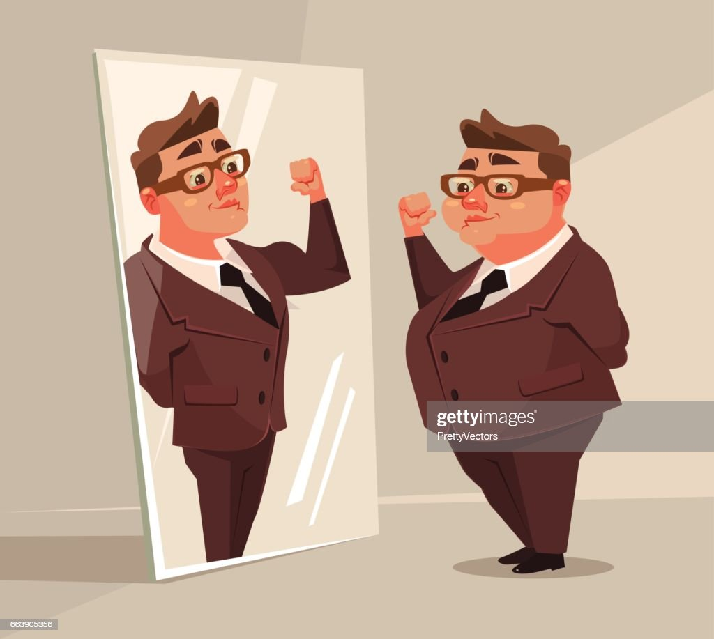 Fat man office worker character pretend to be strong man in mirror