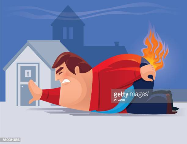 fat man on fire - defecating stock illustrations, clip art, cartoons, & icons