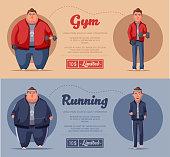 Fat man. Running and activity lifestyle concept. Cartoon vector illustration