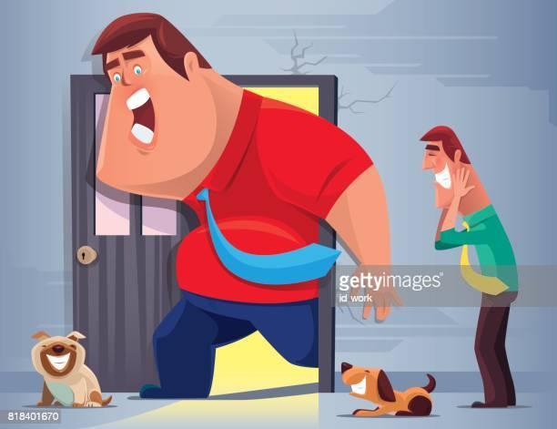 デブ男が戸口で立ち往生