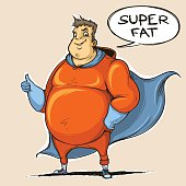 Fat man super hero. Colored. Sketch style.