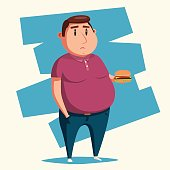 Fat man with burger. Cartoon vector illustration.
