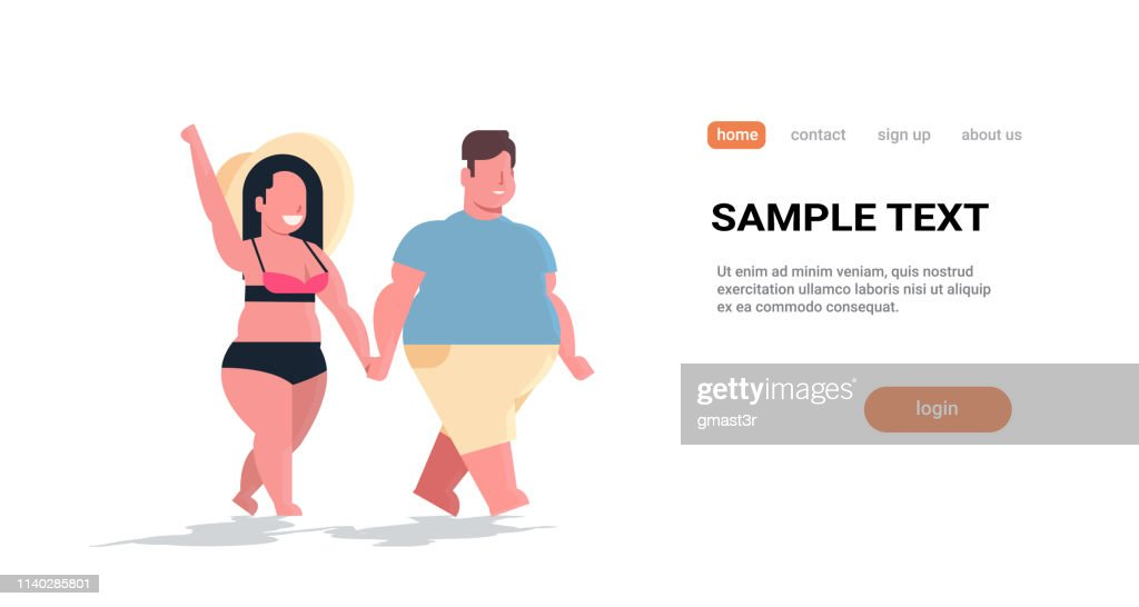 fat obese couple walking together overweight man woman in love holding hands summer vacation concept holiday travel full length flat horizontal copy space