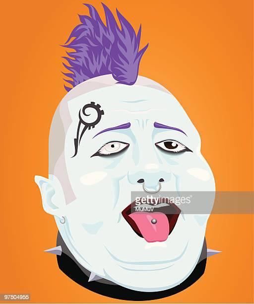 fat punk - mohawk stock illustrations