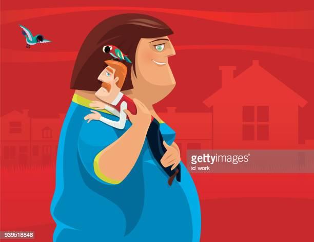 illustrations, cliparts, dessins animés et icônes de grosse femme portant homme mince - assistante maternelle