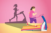 Fat woman jogging on electric treadmill but her shadow was slim.