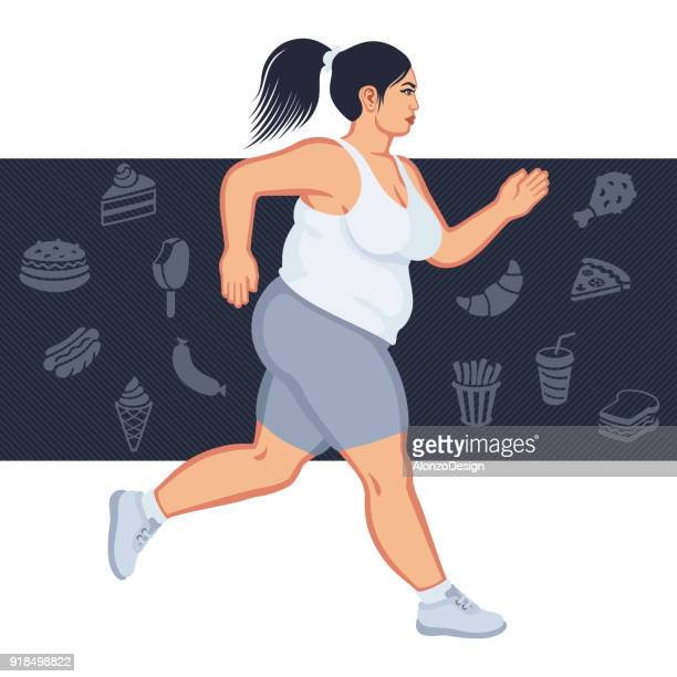 fat woman jogging - heavy stock illustrations, clip art, cartoons, & icons