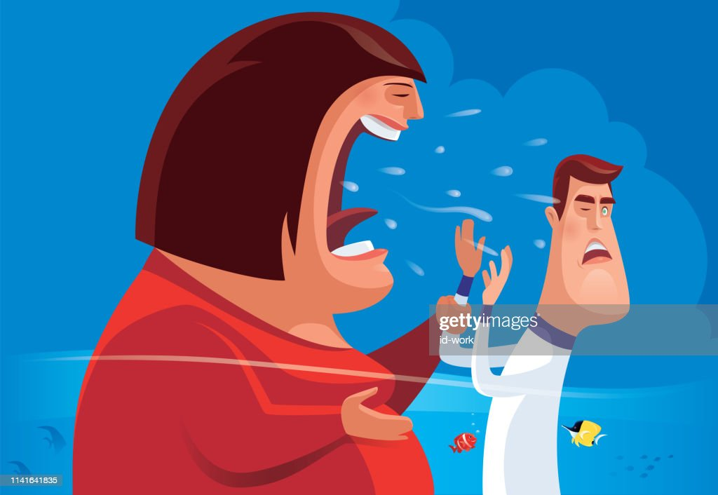 fat woman shouting at thin man : stock illustration