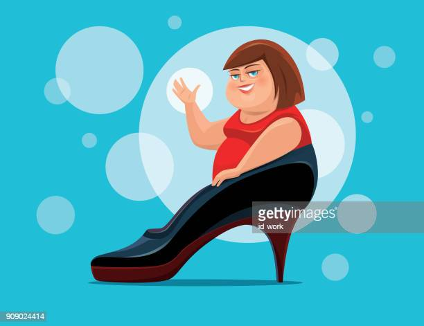 fat woman waving with big high heel - obsessive stock illustrations, clip art, cartoons, & icons