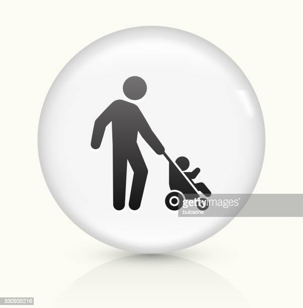 father and baby icon on white round vector button - three wheeled pushchair stock illustrations, clip art, cartoons, & icons