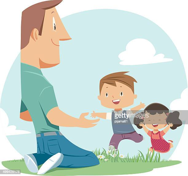 father and children - father stock illustrations