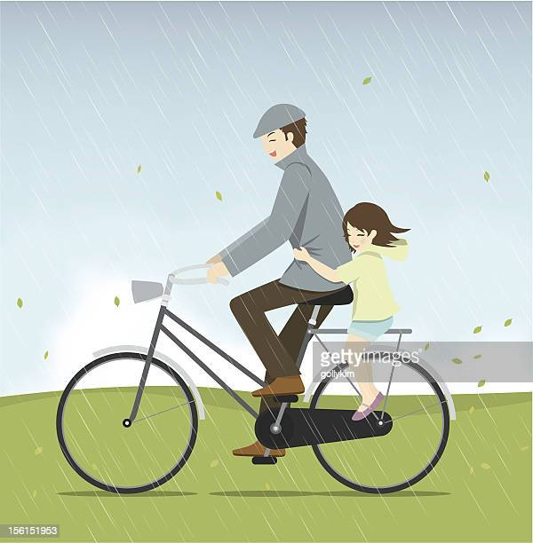 father and daughter riding bicycle in the rain - family cycling stock illustrations, clip art, cartoons, & icons