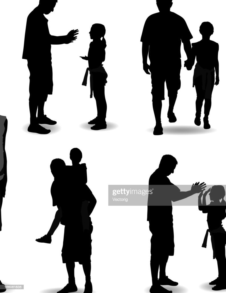 father and daughter silhouette vector art