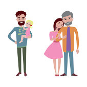 Father and kid together character vector.