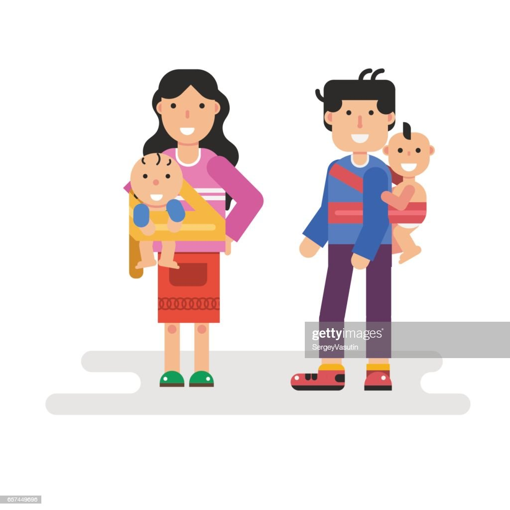 father and mother holding children in sling scarf