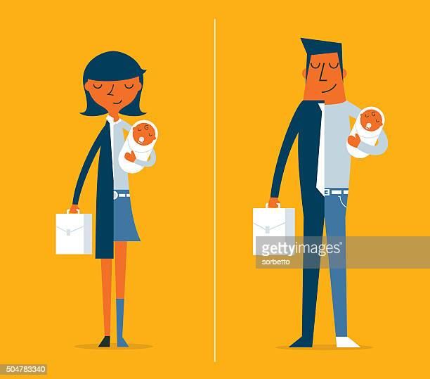 father and mother - parent stock illustrations
