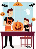Father and Son Carving A Pumpkin Clipart