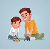 Father and son character play toy