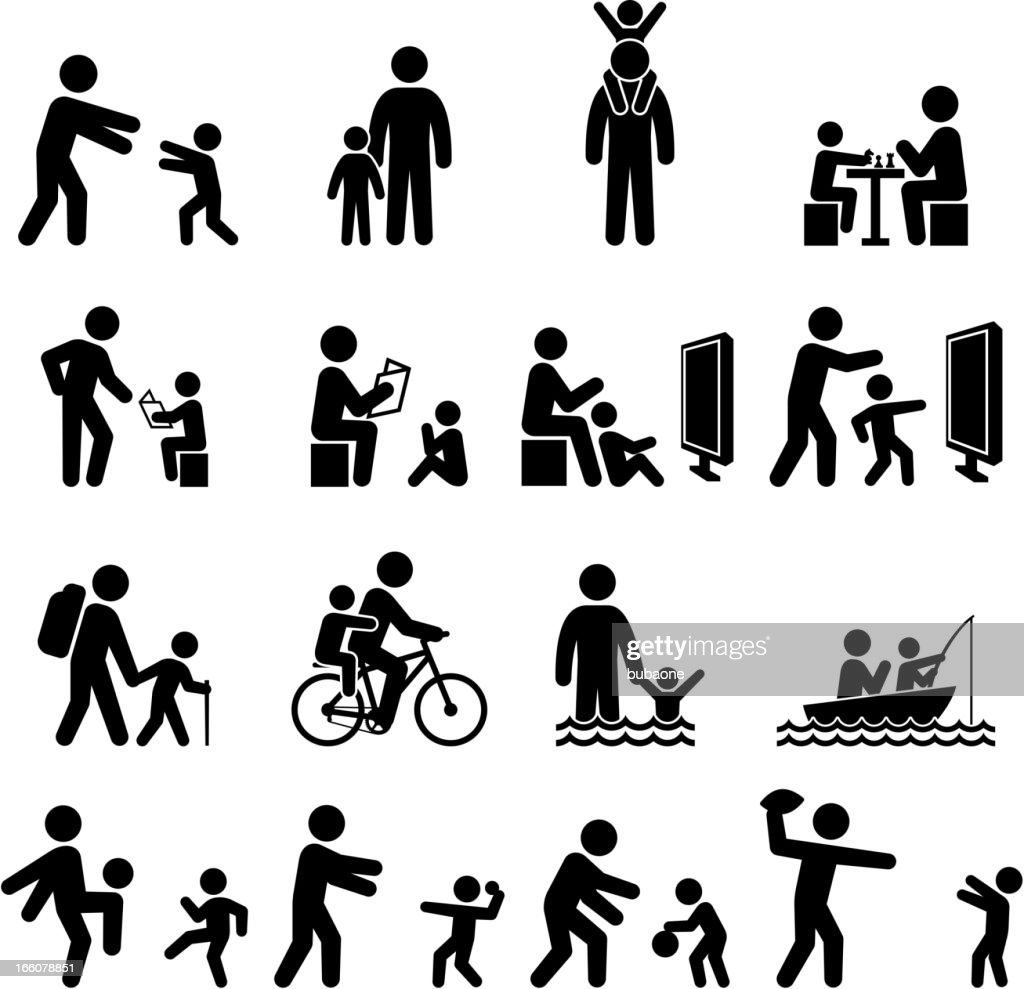Father and son family time and summer fun icon set : stock illustration