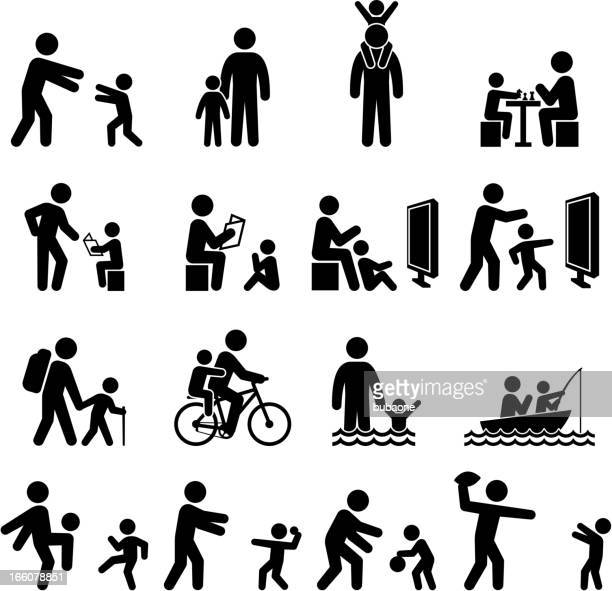 father and son family time and summer fun icon set - recreational pursuit stock illustrations, clip art, cartoons, & icons