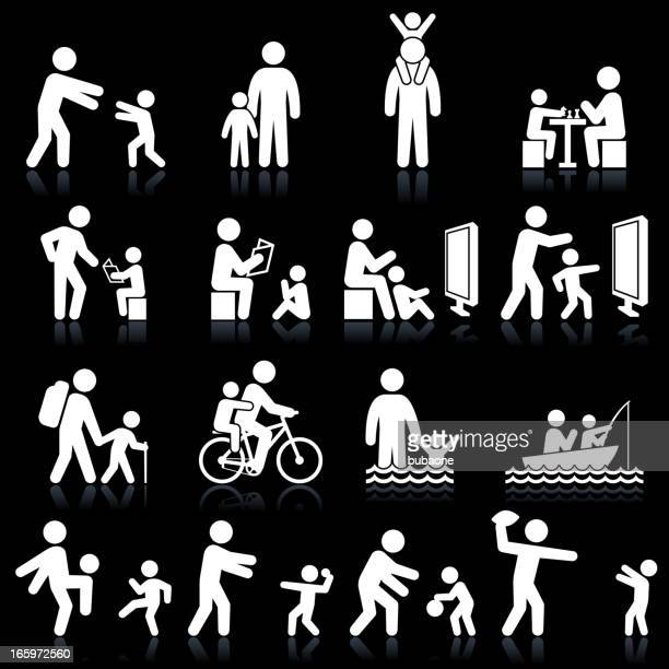 father and son family time black & white icon set - family cycling stock illustrations, clip art, cartoons, & icons
