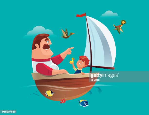 father and son having fun with sailing boat - father stock illustrations